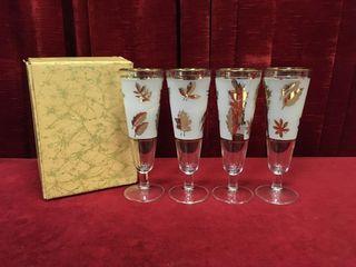 Gold leaf Frosted Flute Glasses