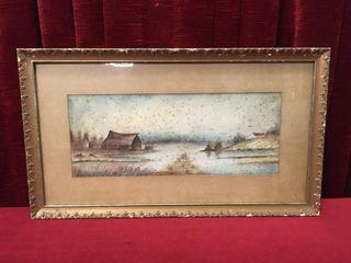 Vintage Original Old Barn Watercolour
