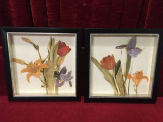 2 Kirkland Floral Prints   Frames 13  x 13