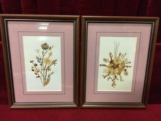 2 Framed Dried Flower Arrangements