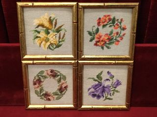 4 Floral Needlepoint Art Pieces