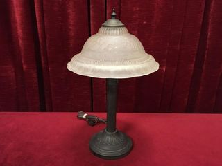 Pressed Glass Shade 17 5  Desk lamp