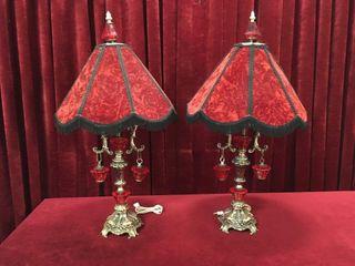 Red Velvet   Brass 31  Boudoir lamps