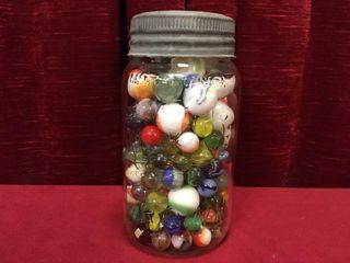1954 Crown Jar w  Various Glass Marbles
