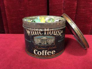White House Coffee Tin w  Various Glass Marbles