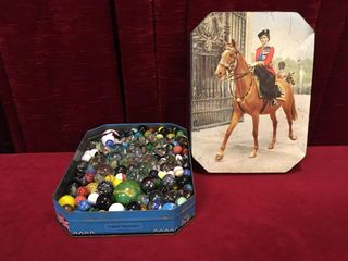 Huntly   Palmers Biscuit Tin w  Glass Marbles