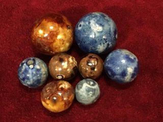 8 Antique German Bennington Clay Marbles