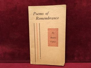1938 Poems of Remembrance by Mollie Vidler