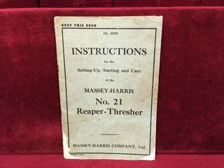 Massey Harris No21 Reaper   Thresher Manual