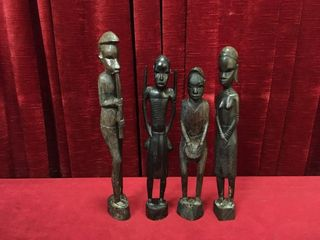 4 Carved Wood Figures