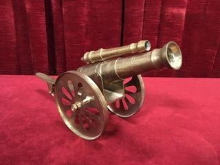 Double Barrel Brass Model Cannon   15 5  Overall