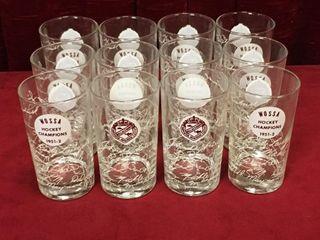 12 1951 2 Wallaceburg WOSSA Hockey Champs Glasses