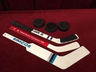 3 Mini Hockey Sticks   3 Pucks