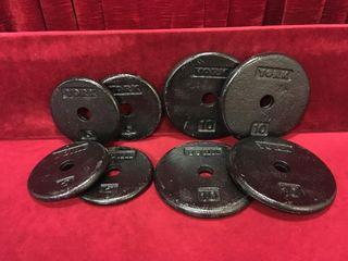 4 x 5lbs   4 x 10lbs York Weights