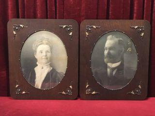 2 Antique Framed Portraits   Frames 22  x 26