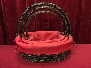 3pc lined Wicker Basket Set