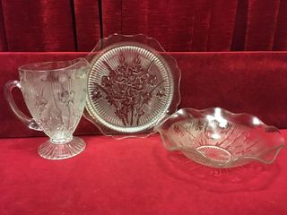 Iris Pattern Pitcher  Platter   Bowl