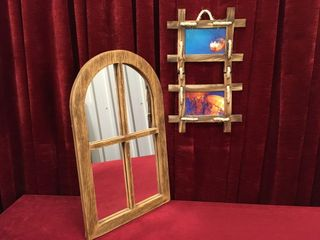 Faux Wood Frame Mirror 14  x 23    Photo Frame