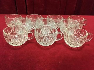 10 Pressed Glass Punch Bowl Cups