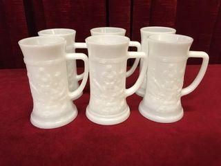 6 1970s Federal Milk Glass Beer Steins