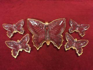 Vintage 5pc Gold Trim Butterfly Dish Set