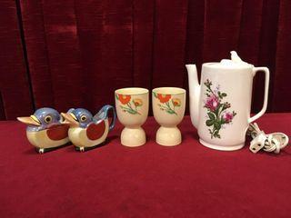 Sugar Bowl   Creamer  Egg Cups   Elec  Teapot