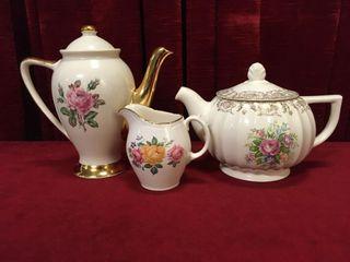 2 Vintage Teapots   1 Creamer