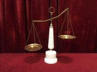 Vintage Milk Glass Hobnail Balance Scale