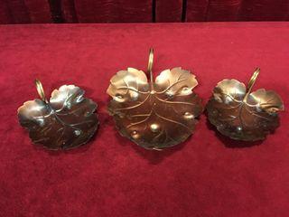3pc Coppercraft Guild leaf Dish Set