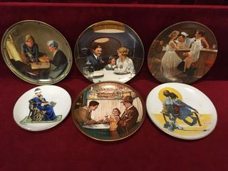 6 Norman Rockwell Plates   1980s