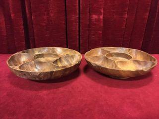 2 Wood Nut Bowls 11 5    12 dia s