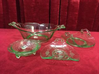 4 Green Depression Glass Dishes