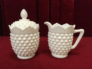 Fenton Milk Glass Hobnail Sugar Bowl Creamer Set