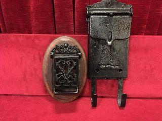 Cast Iron Match Holder   Tin Mailbox