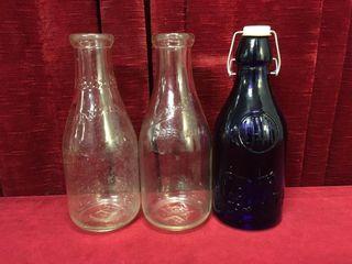 Borden  Silverwoods   Cobalt Blue Milk Bottles