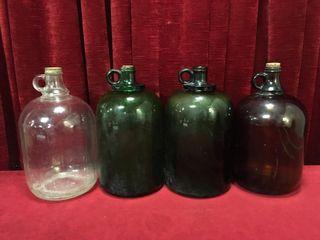 4 Vintage 1 Gallon Glass Jugs