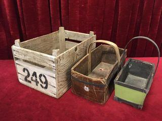 2 Vintage Baskets   Wood Crate