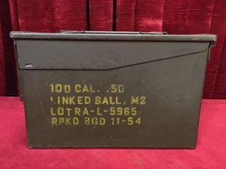 Vintage Steel Ammo Box   1954   11 75  x 6  x 7 5