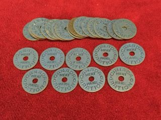 25 WWII Era Canada Meat Ration Tokens