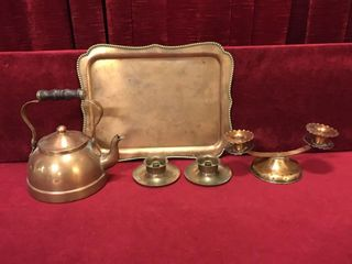 Copper Tray  Teapot   Candle Holders