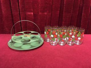 Retro Tin Glass Caddy w  8 Glasses