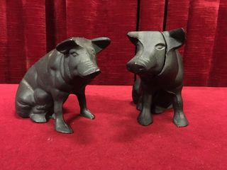 2 Cast Iron Pig Coin Banks
