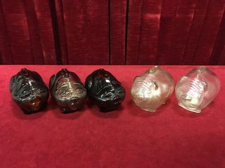 5 Anchor Hocking Glass Piggy Banks   2 Styles