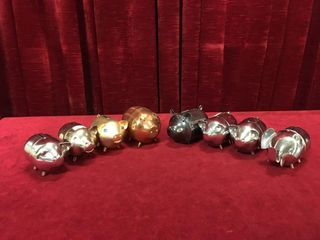 7 Metal Pig Banks   1 Elephant Bank