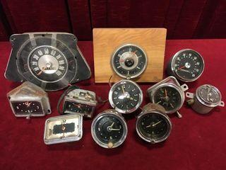 9 Old Car Clocks   2 Speedometers