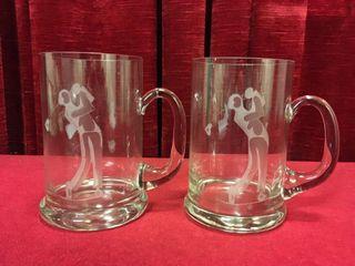 2 Cut Crystal Golfer Beer Mugs