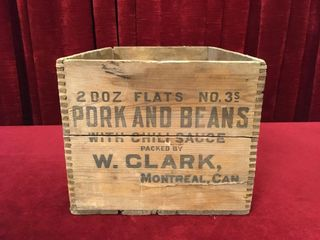W  Clark Pork   Beans Wood Case