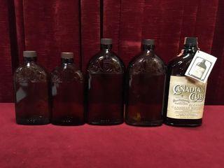 5 Vintage Hiram Walker Bottles 12oz   25oz