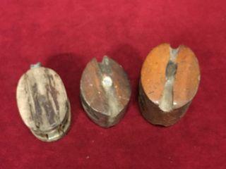 3 Small Vintage Wood Pulleys