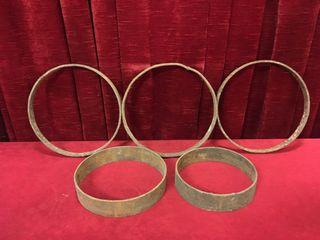 3 Antique Steel Rings   Note